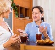 Ältere Damen, die Tee trinken lizenzfreie stockbilder