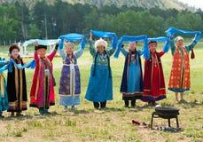 Ältere Delegierte der Weltmongolians-Versammlung Stockbild