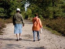 Ältere, die in Wald gehen. Lizenzfreie Stockfotografie