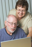 Ältere Erwachsene auf Laptop-Computer lizenzfreie stockfotos