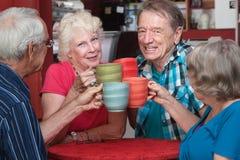 Ältere Erwachsene, die mit Bechern rösten Lizenzfreie Stockfotos