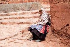 Ältere Frau in Abyaneh, der Iran Lizenzfreie Stockfotografie