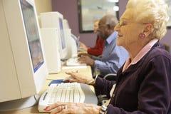 Ältere Frau, die Computer verwendet lizenzfreie stockfotografie