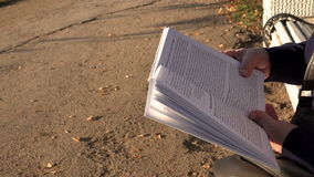 Ältere Frau, die ein Buch sitzt auf einer Bank im Park im Sommer liest stock video footage