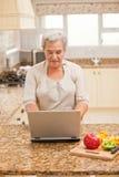 Ältere Frau, die an ihrem Laptop arbeitet lizenzfreies stockbild