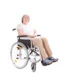 Ältere Frau, die im Rollstuhl sitzt stockfoto