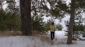 Ältere Frau, die in Koniferenwald durch nordischen Weg an der Winterlandschaft geht Ältere Frau, die durch skandinavischen Weg ge stock video footage
