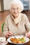 Ältere Frau, die Mahlzeit genießt lizenzfreies stockfoto