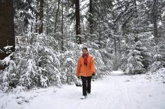 Ältere Frau, die in schneebedeckten Wald geht stockfotografie