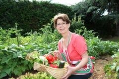 Ältere Frau im Gemüsegarten Lizenzfreie Stockbilder