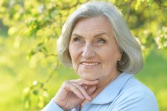 Ältere Frau im grünen Park Stockbild