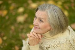 Ältere Frau im Herbstpark Stockfotos