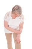 Ältere Frau leidet unter Arthrose lizenzfreie stockbilder