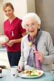 Ältere Frau mit dem Betreuer, der zu Hause Mahlzeit isst Lizenzfreie Stockfotos