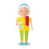 Ältere Frau mit Flasche vektor abbildung