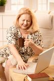 Ältere Frau mit Laptop Lizenzfreie Stockbilder