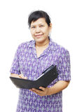Ältere Frau mit Organisator Stockfotos