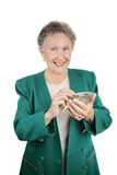 Ältere Frau mit PDA Stockfotografie