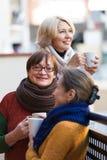 Ältere Frauen, die Tee am Balkon trinken Lizenzfreie Stockbilder