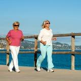 Ältere Frauen, die zusammen draußen rütteln. Stockbild