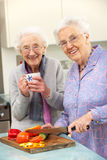 Ältere Frauen, die zusammen Mahlzeit vorbereiten lizenzfreies stockbild