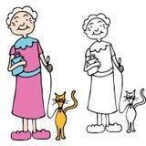 Ältere Frauen-gehende Katze auf Leine Stockbilder