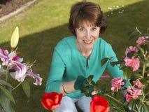 Ältere Frauengartenarbeit Lizenzfreie Stockfotos