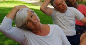 Ältere Freunde, die Übung im Garten 4k tun stock video