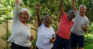 Ältere Freunde, die Übung im Garten 4k tun stock footage
