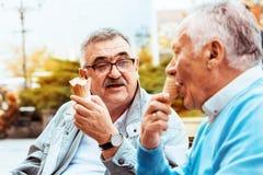 Ältere Freunde, die draußen genießen Lizenzfreie Stockfotos