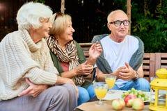 Ältere Freunde, die Ruhestand genießen lizenzfreie stockfotografie