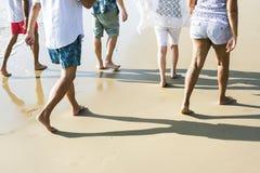 Ältere Freunde, die am Strand gehen stockbild