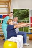 Ältere Gruppe, die hinteres Training tut Stockbilder