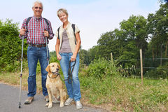 Ältere Leute, die mit Hund wandern Lizenzfreies Stockfoto