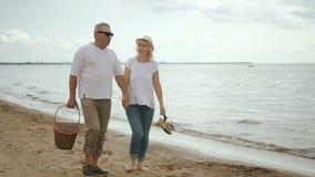 Ältere Liebhaber, die auf Küstenlinie nach Strandpicknick gehen und sprechen stock footage