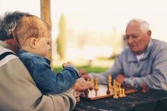 Ältere Männer, die Spaß haben und Schach am Park spielen Stockfoto