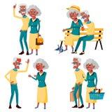 Ältere Paar-gesetzter Vektor Großvater und Großmutter 3d übertrug Abbildung Ältere Paare Schwarzes, afroamerikanisch situationen stock abbildung