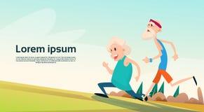 Ältere Paare, die alter Mann-Frauen-Rüttler-Sport-Eignungs-Übungs-Training laufen lassen stock abbildung