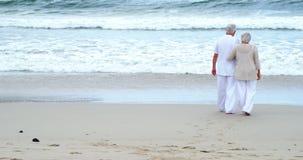 Ältere Paare, die auf den Strand gehen stock video footage