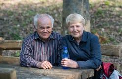 Ältere Paare, die auf einer Bank sitzen Lizenzfreie Stockfotografie