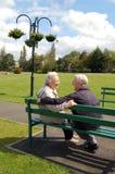 Ältere Paare, die auf einer Parkbank sitzen Stockbild