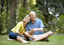 Ältere Paare, die das Freien genießen Stockfotografie