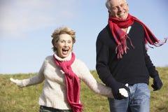 Ältere Paare, die in den Park laufen Lizenzfreies Stockfoto