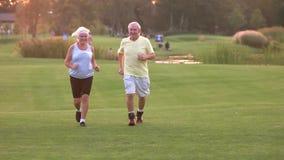 Ältere Paare, die draußen laufen stock video footage