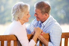 Ältere Paare, die draußen sitzen Stockbilder