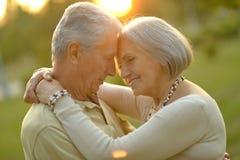Ältere Paare, die draußen stillstehen stockfotos