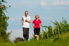 Ältere Paare, die für Sport rütteln stockbild