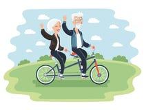 Ältere Paare, die Fahrrad fahren Stockfotografie
