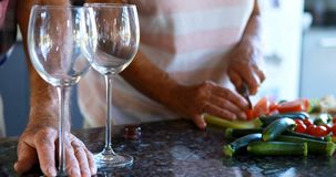 Ältere Paare, die Gemüse beim Essen des Weins 4k hacken stock video footage