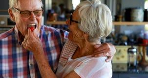 Ältere Paare, die Gemüse in der Küche 4k hacken stock video